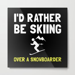 Skiing Over Snowboarder Metal Print