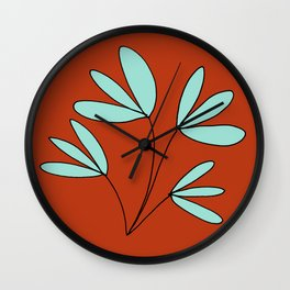 Red and Teal Whimsical Plant Drawing by Emma Freeman Designs Wall Clock