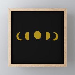 Moon Phase Dark Framed Mini Art Print