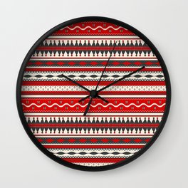 Traditional Romanian embroidery seamless pattern design Wall Clock