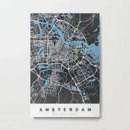 Amsterdam Map | Black & Blue | More Colors, Review My Collections Metal Print