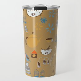 hygge cat and bird camel Travel Mug