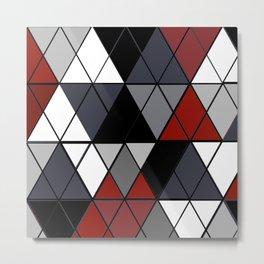 Argyle Red Pattern Metal Print