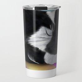 Tuxedo Cat Napping Travel Mug