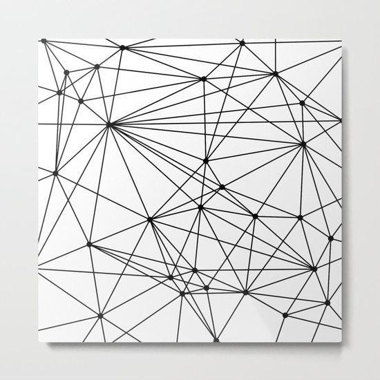 Black & White Geometric Web Metal Print