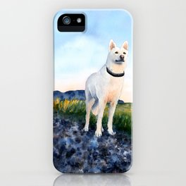 White German Shepard Watercolor iPhone Case
