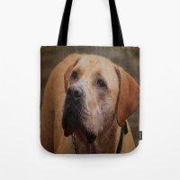 labrador Tote Bags featuring Golden Labrador by Doug McRae
