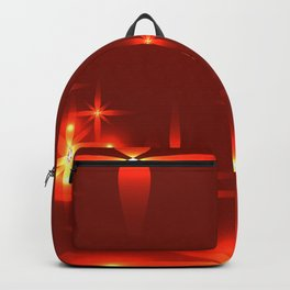 Bloody background with shining light metal stars. Backpack