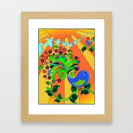 Bright Psychedelic Bird, Retro Style Framed Art Print