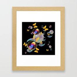 SURREAL GOLDEN YELLOW BUTTERFLIES  & SOAP BUBBLES Framed Art Print