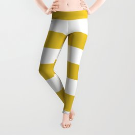 Durian Yellow - solid color - white stripes pattern Leggings