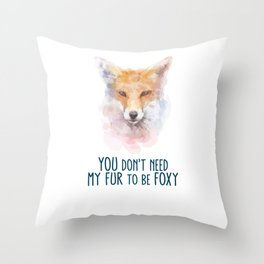 Fox Head Watercolor Foxy Throw Pillow
