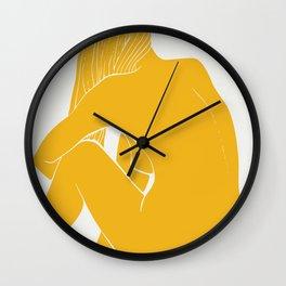 Nude in yellow summer Wall Clock