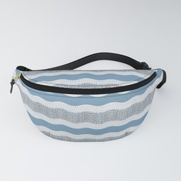 Wavy River in Blue and Gray 1 Fanny Pack