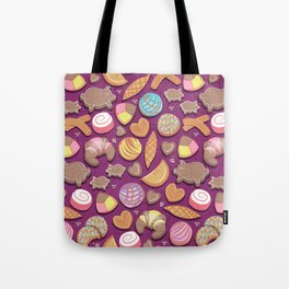 Mexican Sweet Bakery Frenzy // pink background // pastel colors pan dulce Tote Bag