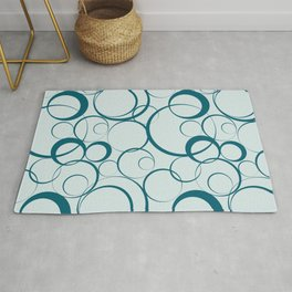 Dark Teal Funky Rings Pattern on Pale Blue Inspired by Sherwin Williams 2020 Trending Color Oceanside SW6496 Rug
