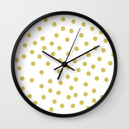 Simply Dots in Mod Yellow on White Wall Clock