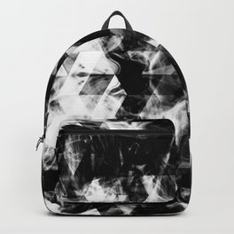 Electrifying black and white sparkly triangle flames Backpack