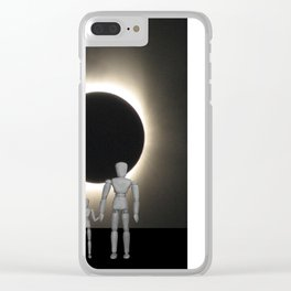 Wooden Anatomy Father Doll and Child before Total Solar Eclipse Clear iPhone Case