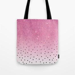 Black white polka dots pink glitter ombre Tote Bag