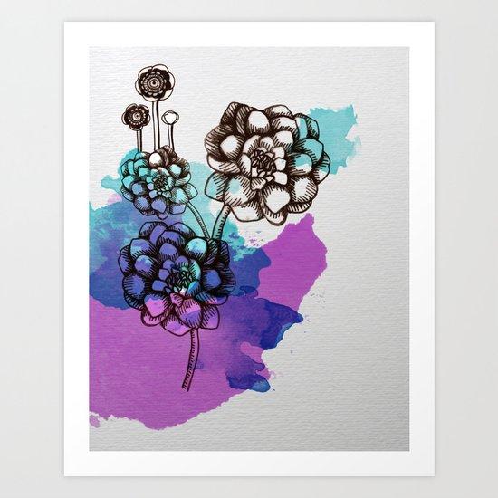 Flowers Watercolor Art Print