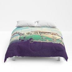 NEVER STOP EXPLORING THE BEACH Comforters