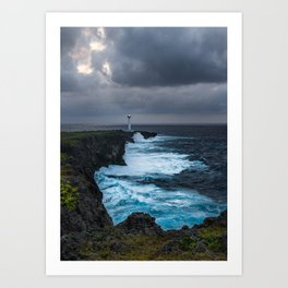 Storm Brewing Over the Cape Zanpa Lighthouse Art Print