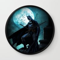 bat man Wall Clocks featuring BAT man by Electra