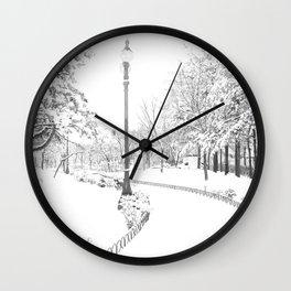Winter snow city Wall Clock