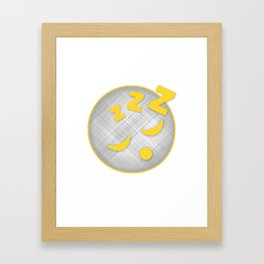 Sleeping Emoji in Plaid Framed Art Print