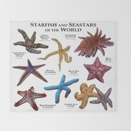 Starfish and Seastars of the World Throw Blanket