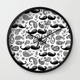 Mustache Paislies Wall Clock
