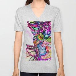 Colorful Hummingbird in Flight Psychedelic Zentangle Watercolor Unisex V-Neck