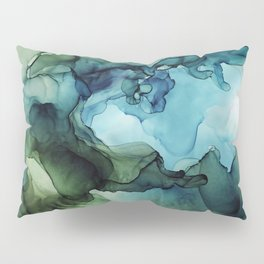 Land and Water Abstract Ink Painting Blues and Greens Pillow Sham
