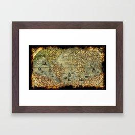 Vintage Old World Map Framed Art Print