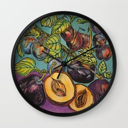 Damson Plums 1 Wall Clock