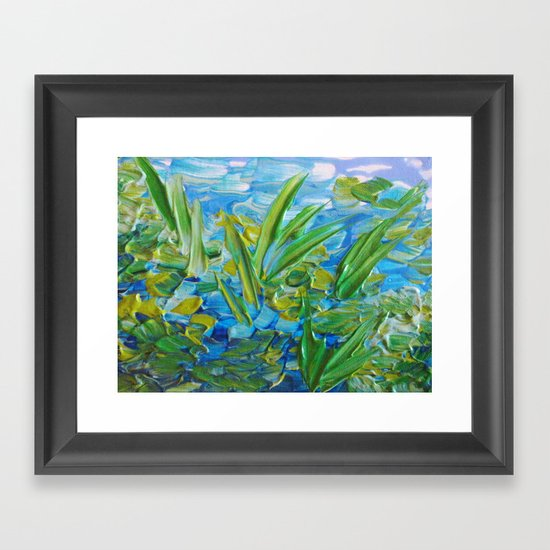 LAKE LOVE - Beautiful Relaxing Turquoise Blue Green Seaweed Chic Decor Gift for Him Acrylic Painting Framed Art Print