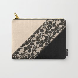 Elegant Peach Ivory Black Floral Lace Color Block Carry-All Pouch