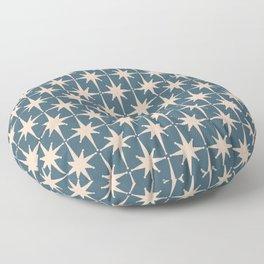 Starbursting - Midcentury Modern Atomic Age Pattern in Pale Blush and Deep Teal Floor Pillow