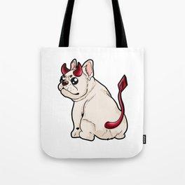 Evil Dog Devil Horns Hell Doggie Puppy Funny gift Tote Bag