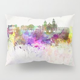 Santiago de Chile V2 skyline in watercolor background Pillow Sham