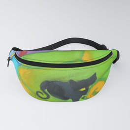 Black Cat on a Green Chair, Painting, Vibrant Art Fanny Pack