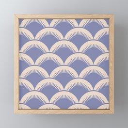 Japanese Fan Pattern Lavender and Beige Framed Mini Art Print