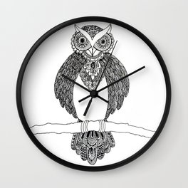 Intricate night owl doodle Wall Clock