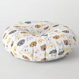 Nine Cute Dogs in White Floor Pillow