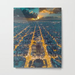 Sunset in Barcelona Metal Print