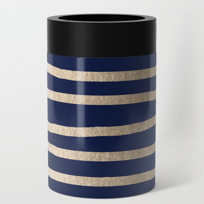 Drawn Stripes White Gold Sands on Nautical Navy Blue Can Cooler