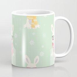 White rabbit Christmas pattern 001 Coffee Mug