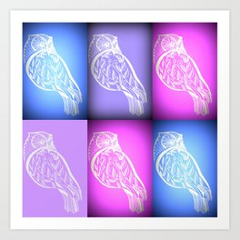pink and blue and purple owls Art Print