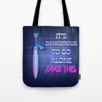 sword Tote Bags featuring Retro Sword by DonCorgi